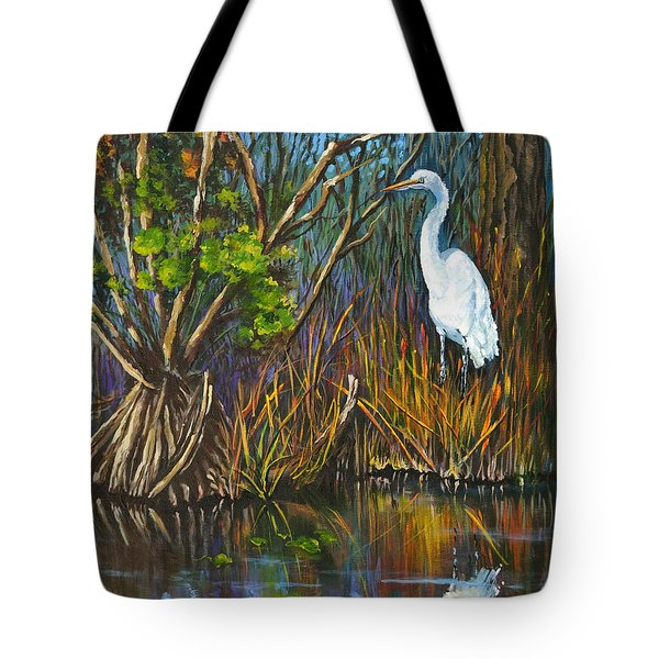 Tote Bag featuring the painting The White Heron by Dianne Parks