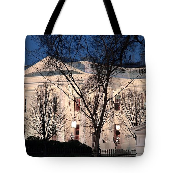 Tote Bag featuring the photograph The White House At Dusk by Cora Wandel