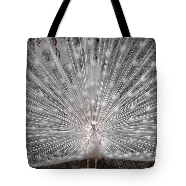 The White Peacock Tote Bag by Gary Keesler