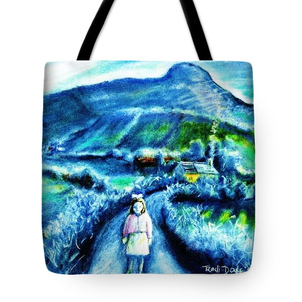 Tote Bag featuring the painting The White Ribbon - Eagle Hill  by Trudi Doyle