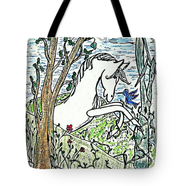 The White Stallion Is Chatting With His Friends Tote Bag by Patricia Keller