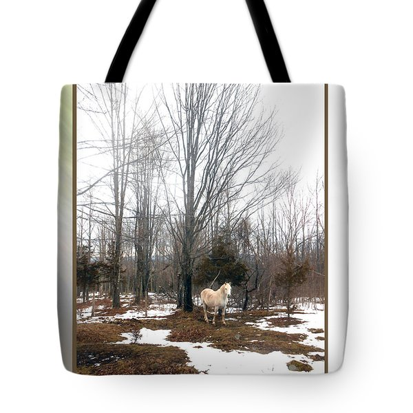 The White Stallion On A Snowless  Mound Tote Bag by Patricia Keller