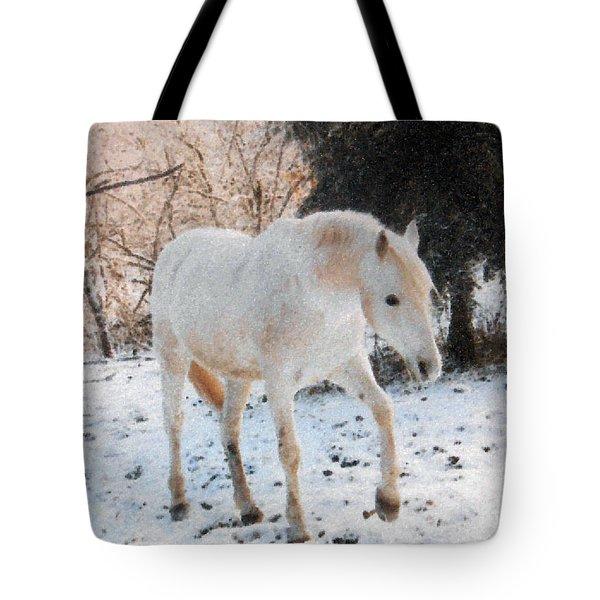 The White Stallion's Winter Walk Tote Bag by Patricia Keller