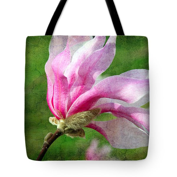 The Windblown Pink Magnolia - Flora - Tree - Spring - Garden Tote Bag by Andee Design