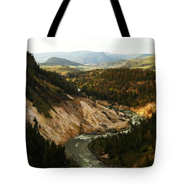 The Winding Yellowstone Tote Bag by Jeff Swan