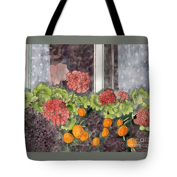 Tote Bag featuring the painting The Window Box by LeAnne Sowa