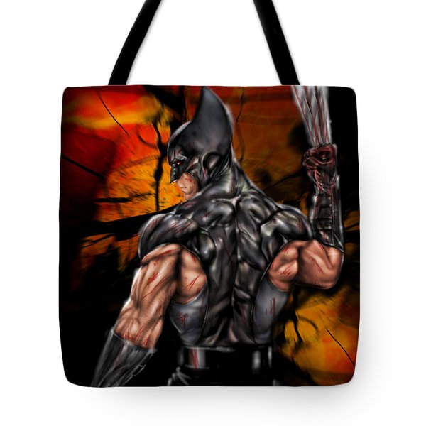 Tote Bag featuring the painting The Wolverine by Pete Tapang