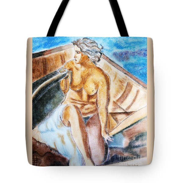 Tote Bag featuring the painting The Woman Rower by Jasna Dragun