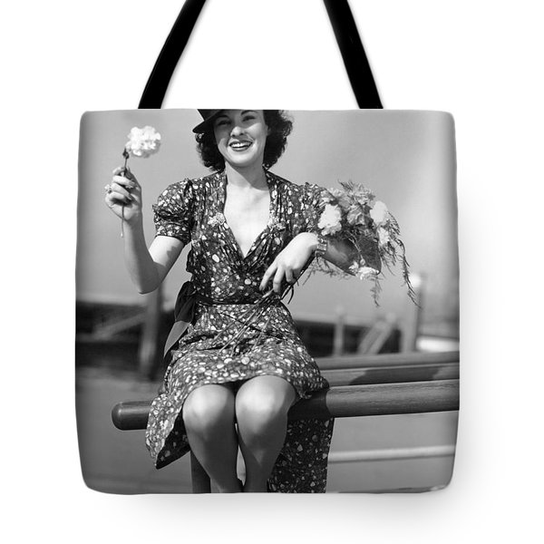The Woman With Carnations Tote Bag by Underwood Archives