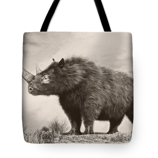 The Woolly Rhinoceros Is An Extinct Tote Bag by Philip Brownlow