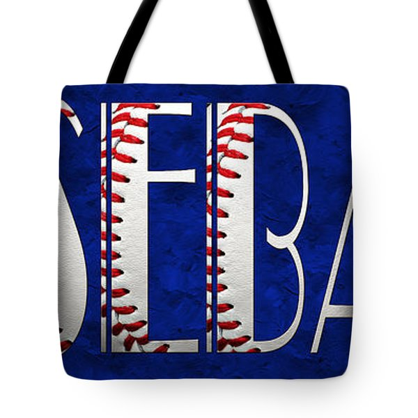 The Word Is Baseball On Blue Tote Bag by Andee Design