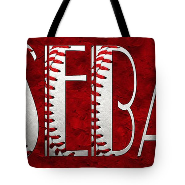 The Word Is Baseball On Red Tote Bag by Andee Design