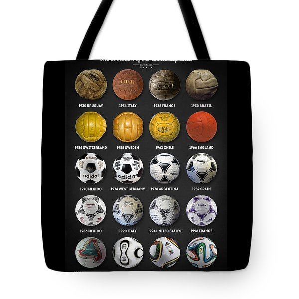 Tote Bag featuring the digital art The World Cup Balls by Taylan Apukovska