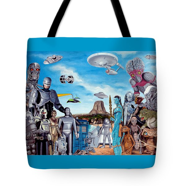 The World Of Sci Fi Tote Bag by Tony Banos