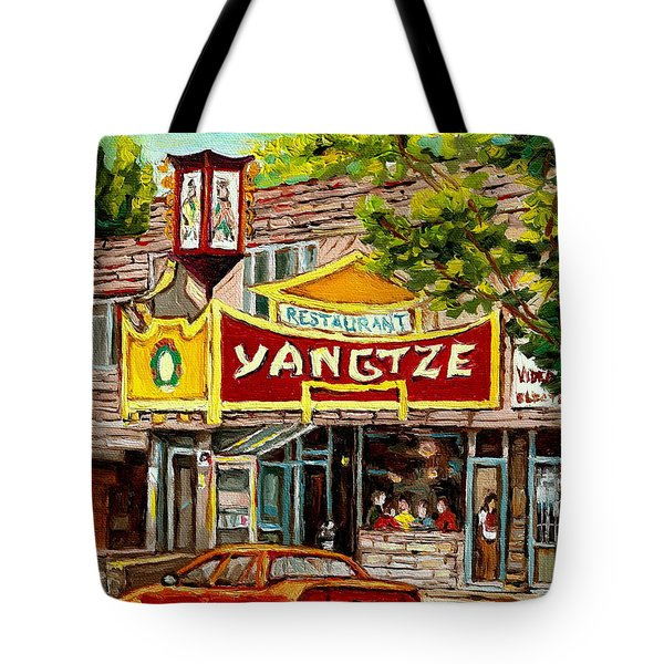 The Yangtze Restaurant On Van Horne Avenue Montreal  Tote Bag by Carole Spandau