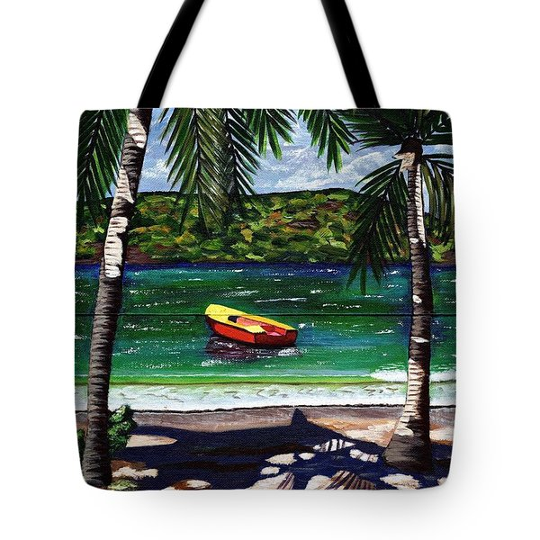 Tote Bag featuring the painting The Yellow And Red Boat by Laura Forde