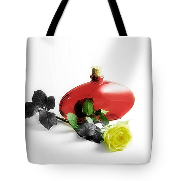 Tote Bag featuring the photograph The Yellow Rose by Karo Evans