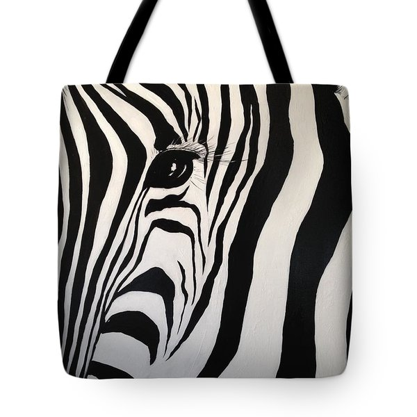 Tote Bag featuring the painting The Zebra With One Eye by Alan Lakin