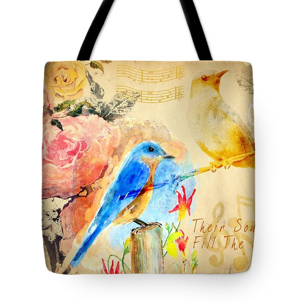 Tote Bag featuring the mixed media Their Sounds Fill The Air by Arline Wagner