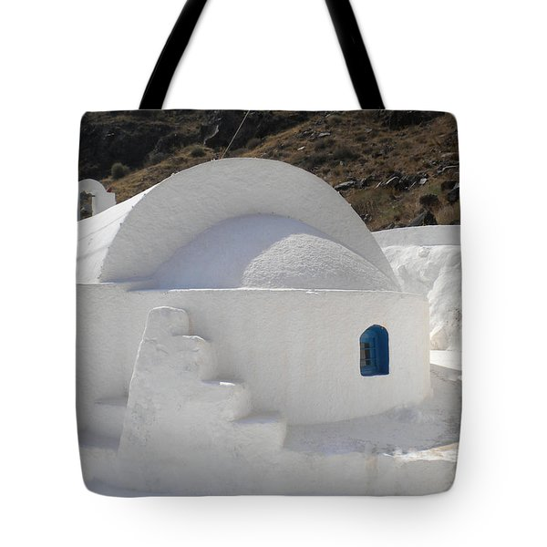 Tote Bag featuring the photograph Thirasia Church Santorini Greece by Colette V Hera  Guggenheim