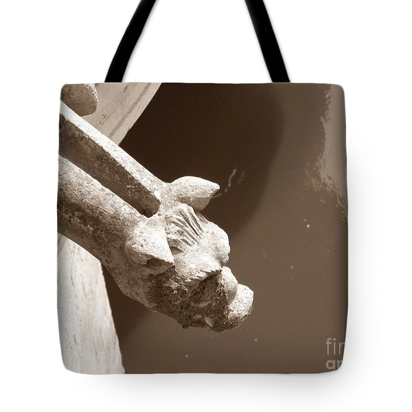 Tote Bag featuring the photograph Thirsty Gargoyle - Sepia by HEVi FineArt