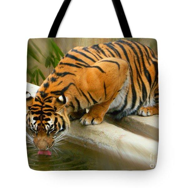 Thirsty Sumatran Tiger Tote Bag