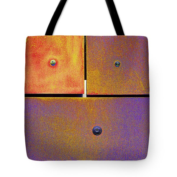 Tote Bag featuring the photograph Thirteen Fourteen Fifteen - Colorful Rust - Gold Purple by Menega Sabidussi