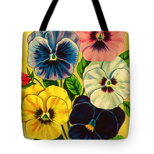 Pansy Flowers Antique Packaging Label  Tote Bag