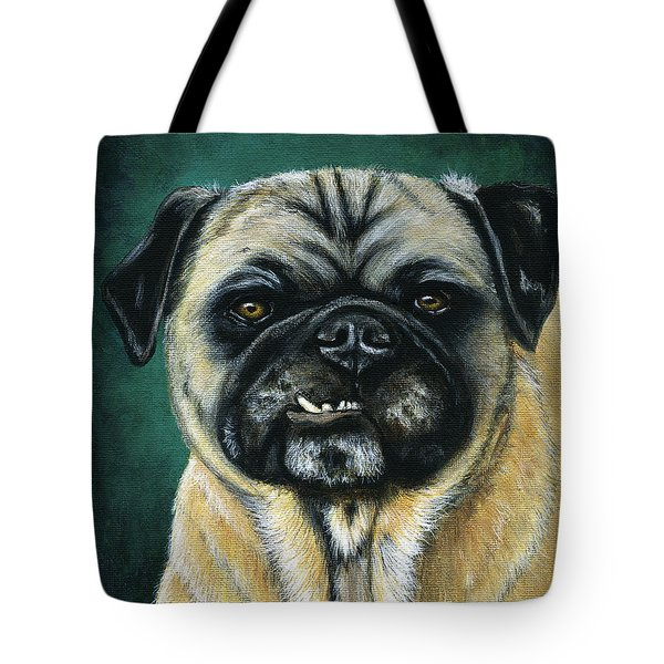 This Is My Happy Face - Pug Dog Painting Tote Bag
