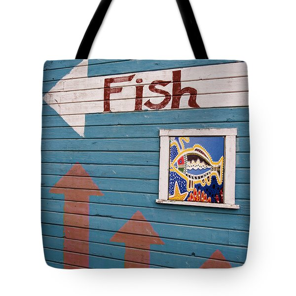 This Way To The Fish Tote Bag by Carol Leigh
