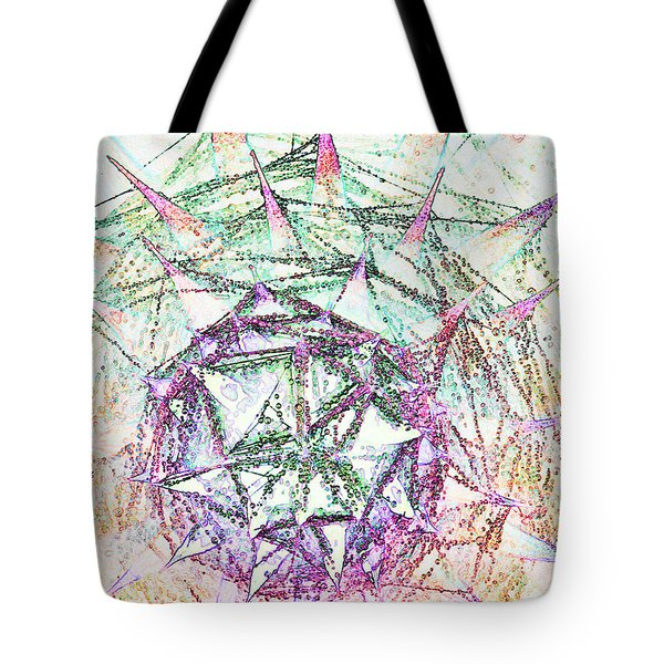 Thistlehead With Cobwebs And Dew Tote Bag
