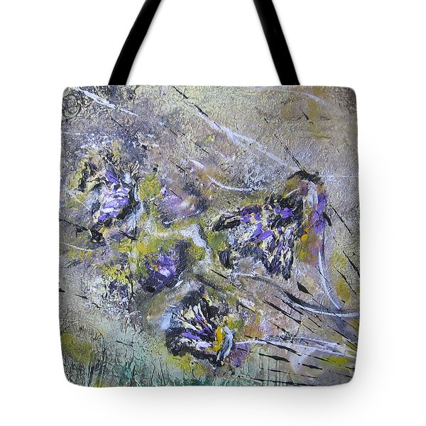 Tote Bag featuring the painting Thistles In The Mist by Lucy Matta