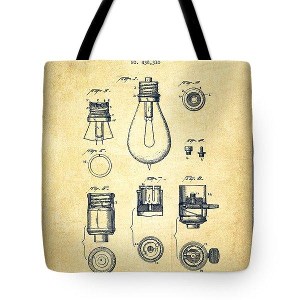 Thomas Edison Lamp Base Patent From 1890 - Vintage Tote Bag