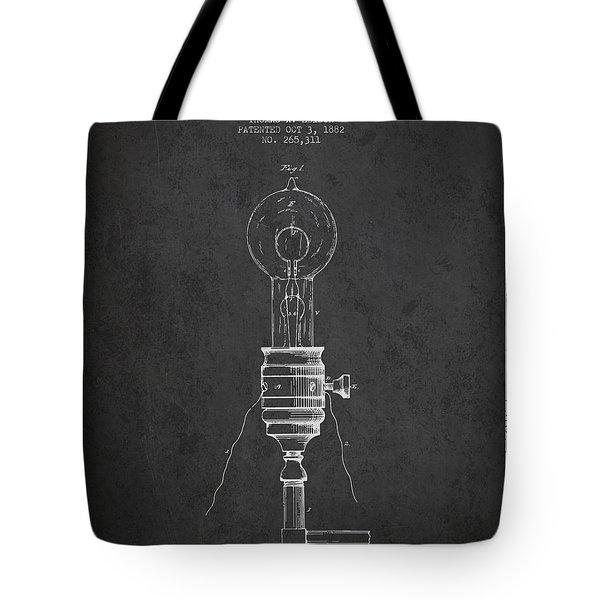 Thomas Edison Vintage Electric Lamp Patent From 1882 - Dark Tote Bag
