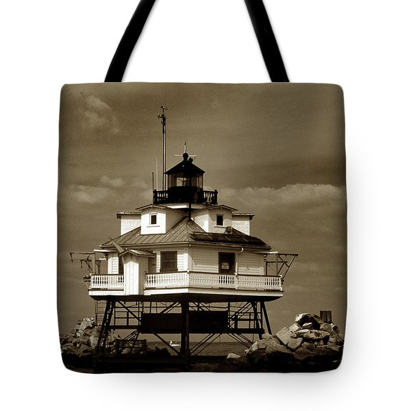 Thomas Point Shoal Lighthouse Sepia Tote Bag