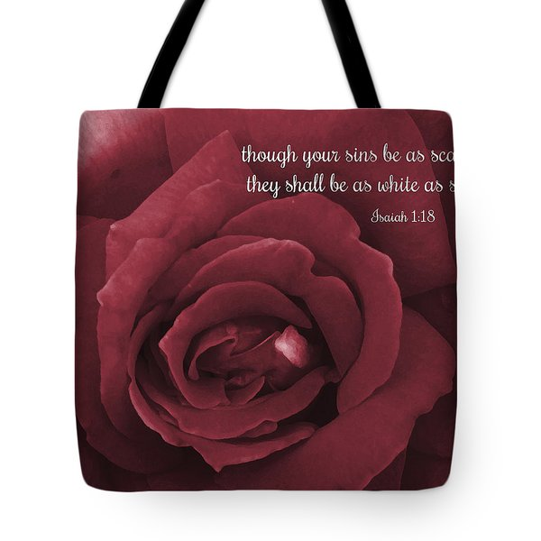 Though Your Sins Be As Scarlet Red Rose Tote Bag