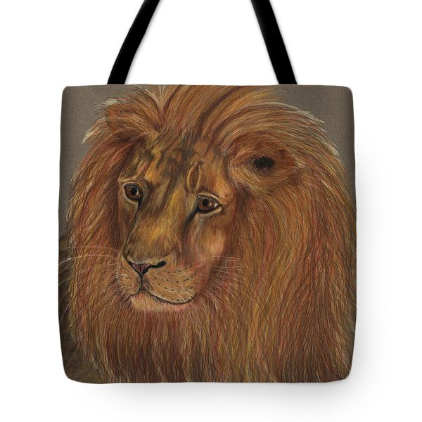 Tote Bag featuring the drawing Thoughtful Lion 2 by Stephanie Grant