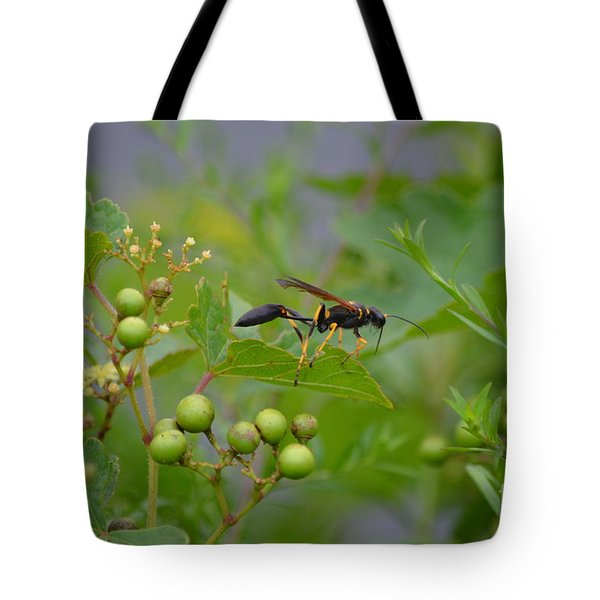 Tote Bag featuring the photograph Thread-waist Wasp by James Petersen