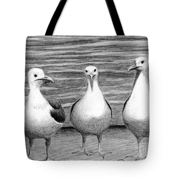 Tote Bag featuring the drawing Three Amigos by Phyllis Howard