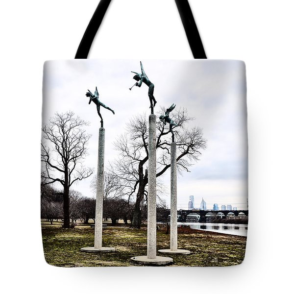 Three Angels In Winter Tote Bag by Bill Cannon
