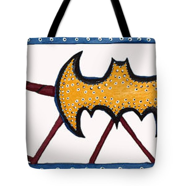 Tote Bag featuring the sculpture Three Bat Signals by Robert Margetts