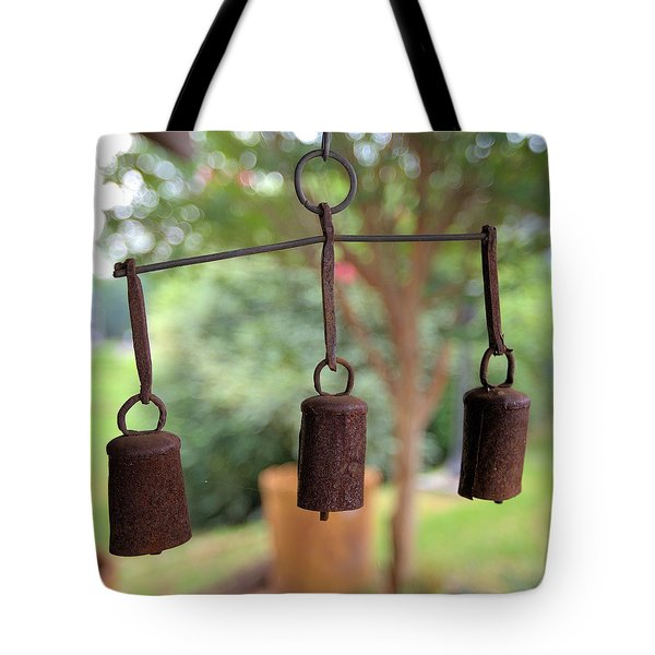 Three Bells - Square Tote Bag by Gordon Elwell