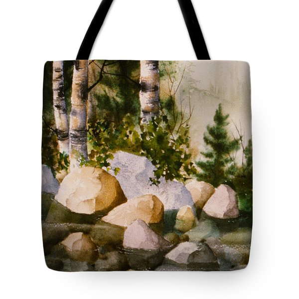 Three Birch By Rocky Stream Tote Bag