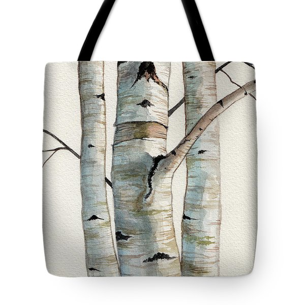 Three Birch Trees Tote Bag