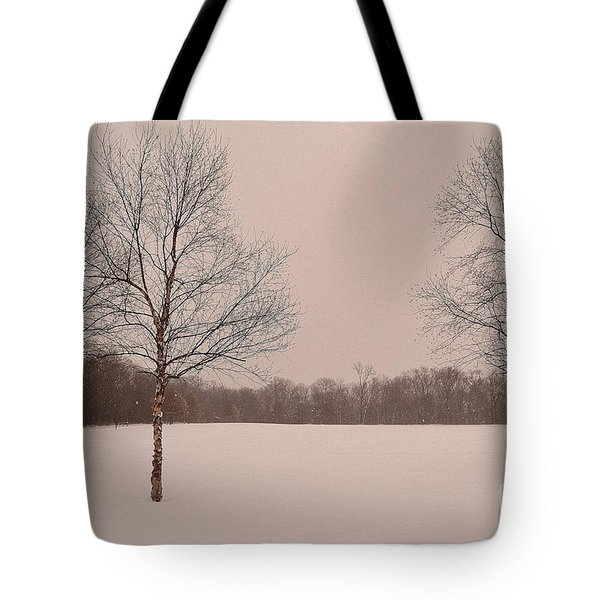 Three Birch Trees In Winter Tote Bag