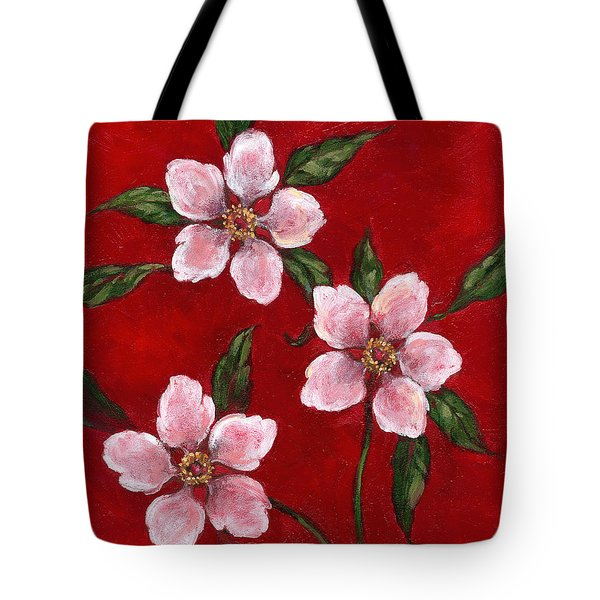Three Blossoms On Red Tote Bag