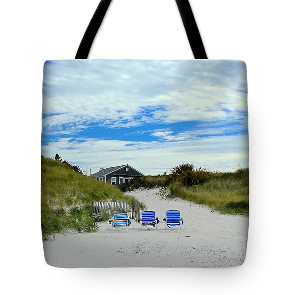Tote Bag featuring the photograph Three Blue Beach Chairs by Amazing Jules