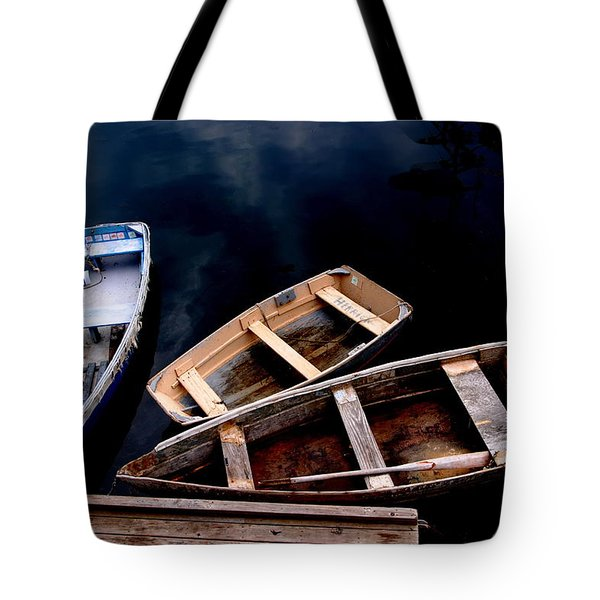 Tote Bag featuring the photograph Three Boats In Rockport Mass by Jacqueline M Lewis