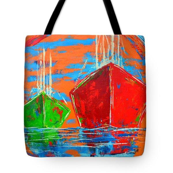 Three Boats Sailing In The Ocean Tote Bag by Patricia Awapara