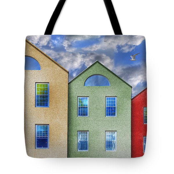 Three Buildings And A Bird Tote Bag